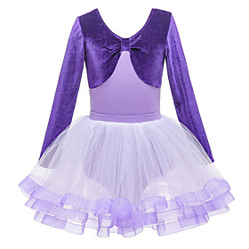 Ballet Skirts Lace Pleats Ruffles Girls' Training Performance Long Sleeve Natural Cotton