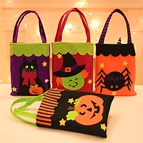Halloween Party Toys Non-woven Bags Halloween Gift Bags Trick or Treat 7 pcs Cat Pumpkin Cartoon with Handles Non-woven Fabrics Kid's Adults Trick or Treat Hal