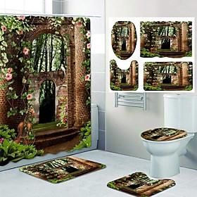 Fresh Garden Pattern PrintingBathroom Shower Curtain Leisure Toilet Four-Piece Design