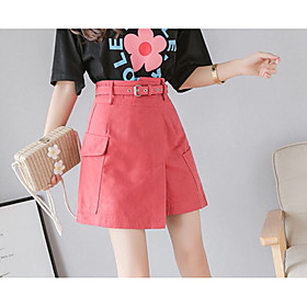 Women's Casual / Daily Basic Above Knee Skirts Solid Colored Split Patchwork