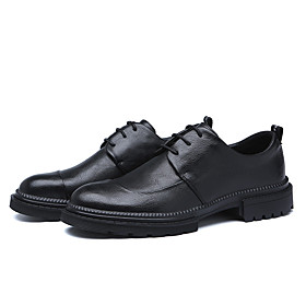 Men's Oxfords Business Daily Walking Shoes Cowhide Wear Proof Black Spring / Fall