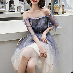 A-Line Color Block Sexy Homecoming Cocktail Party Dress Off Shoulder Short Sleeve Knee Length Tulle with Sash / Ribbon Pleats 2020