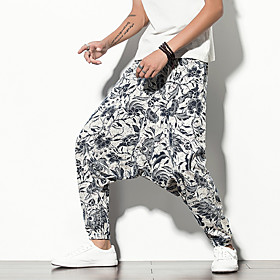Men's Chinoiserie Folk Style Daily Home Harem Jogger Pants Print Pattern Blue  White Black  Red Sun Flower Baggy Print Outdoor White Blue Red M L XL