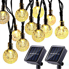 2PCS Solar String Lights 20 LED 5M Solar Patio Lights with 8 Modes Waterproof Crystal Ball String Lights for Patio Lawn Party Wedding Garden Decorations