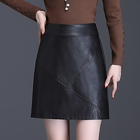 Women's Casual / Daily Basic Above Knee Skirts Solid Colored Patchwork