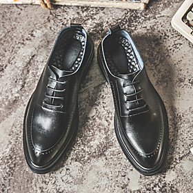 Men's Oxfords Business Daily Walking Shoes Cowhide Wear Proof Black / Brown Spring / Fall