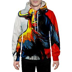 Men's Daily Pullover Hoodie Sweatshirt 3D Graphic Animal Hooded Basic Hoodies Sweatshirts  Long Sleeve Rainbow