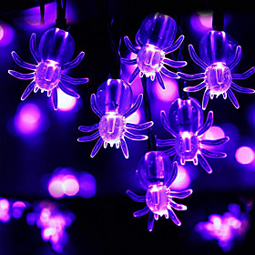 Halloween Lights Spider String Lights 10 LED Purple Spiders 1.5m 4.9ft LED Toys Halloween Ghost Festival Horror Decoration Supplies for Party Costumes