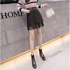 Women's Casual / Daily Basic Above Knee Skirts Solid Colored / Slim