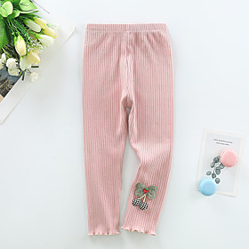 Kids Girls' Basic Solid Colored Bow Pants White
