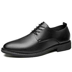 Men's Oxfords Business Daily Walking Shoes Leather Shock Absorbing Black Spring / Fall / Square Toe