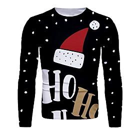 Men's Christmas T-shirt 3D Graphic Letter Long Sleeve Tops Basic Round Neck Black