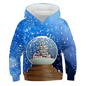 Kids Boys' Active Basic 3D Graphic Christmas Print Long Sleeve Hoodie  Sweatshirt Blue