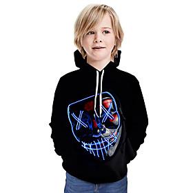 Kids Boys' Active Basic 3D Graphic Print Long Sleeve Hoodie  Sweatshirt Black