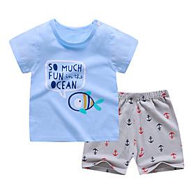 Kids Boys' Basic Daily Cartoon Letter Print Short Sleeve Regular Clothing Set Light Blue