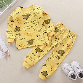 Kids Boys' Basic Daily Cartoon Letter Print Long Sleeve Regular Clothing Set Yellow