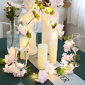 1X 2M 20LEDs Artificial Pink Cherry Blossoms Flower LED Fairy String Lights AA Battery Powered For Wedding Xmas New Year Party Home Decor Garland Warm White Li
