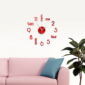 18 Inch DIY Wall Clock, Modern 3D Wall Clock with Mirror Numbers Stickers for Home Office Decorations Gift
