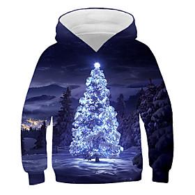 Kids Boys' Active Basic 3D Graphic Christmas Print Long Sleeve Hoodie  Sweatshirt Navy Blue