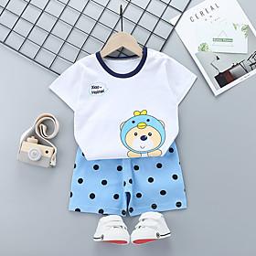 Kids Boys' Basic Daily Cartoon Letter Print Short Sleeve Regular Regular Clothing Set White