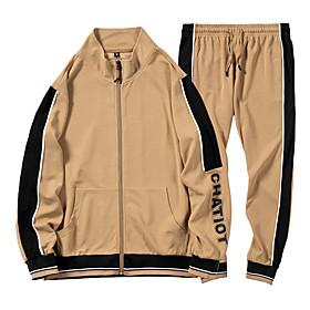 Men's Daily Activewear Set Color Block Casual Streetwear Hoodies Sweatshirts  Long Sleeve Black Khaki