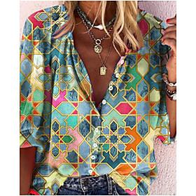 Women's Blouse Shirt Abstract Long Sleeve Print V Neck Tops Basic Basic Top Blue Green
