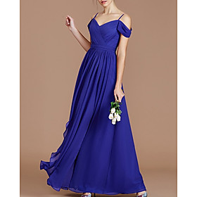 A-Line Elegant Minimalist Wedding Guest Formal Evening Dress Spaghetti Strap Sleeveless Floor Length Chiffon with Pleats 2020