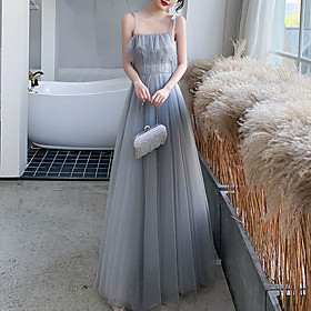A-Line Elegant Glittering Wedding Guest Prom Dress Spaghetti Strap Sleeveless Floor Length Tulle with Sequin Ruffles 2020