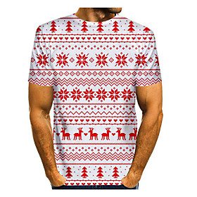 Men's Christmas T-shirt 3D Graphic Short Sleeve Tops Basic Round Neck Red / White