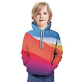 Kids Boys' Active Basic Color Block 3D Graphic Print Long Sleeve Hoodie  Sweatshirt Rainbow