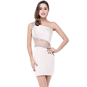 A-Line Elegant Beautiful Back Party Wear Cocktail Party Dress One Shoulder Sleeveless Short / Mini Spandex with Crystals 2020