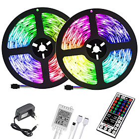 (2x5M)10M 32.8ft LED Light Strips RGB Tiktok Lights 2835 600leds 8mm Strips Lighting Flexible Color Changing with 44 Key IR Remote Ideal for Home Kitchen Chris