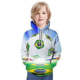 Kids Boys' Active Basic Color Block 3D Flag Print Long Sleeve Hoodie  Sweatshirt Light Blue