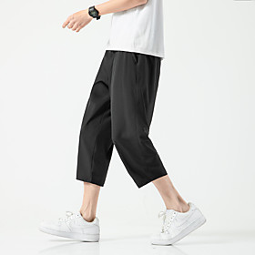 Men's Chinoiserie Folk Style Daily Home Chinos Capri shorts Pants Solid Colored Black White Baggy Drawstring Outdoor White Black M L XL