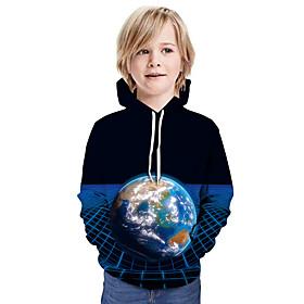 Kids Boys' Active Basic Color Block 3D Graphic Print Long Sleeve Hoodie  Sweatshirt Black