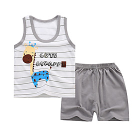 Kids Boys' Basic Daily Cartoon Letter Print Sleeveless Regular Regular Clothing Set Gray