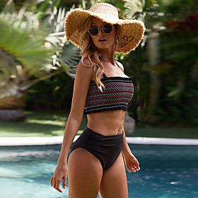 Women's Colorful Lace Tankini Swimsuit Lace up High Waist Striped Strap Swimwear Bathing Suits Black / Padded Bras