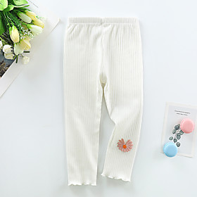 Kids Girls' Basic Solid Colored Pants White