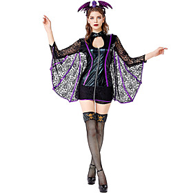 Bat Uniforms Cosplay Costume Costume Adults' Women's Lace Vacation Dress Halloween Festival / Holiday Polyester Black Women's Easy Carnival Costumes / Hair Ban