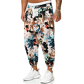 Men's Chinoiserie Folk Style Daily Home Harem Pants Print Pattern Black  Red Sun Flower Fantastic Beasts Baggy Drawstring Outdoor Red Yellow Orange M L XL