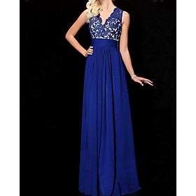 A-Line Floral Sexy Wedding Guest Formal Evening Dress V Neck Sleeveless Floor Length Chiffon with Pleats 2020