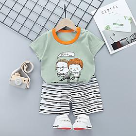 Kids Boys' Basic Daily Cartoon Print Short Sleeve Regular Regular Clothing Set Gray