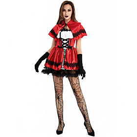 Angel / Devil Costume Party Dress Adults' Women's Euramerican Vacation Dress Halloween Halloween Festival / Holiday Spandex Fabric Red Women's Easy Carnival Co
