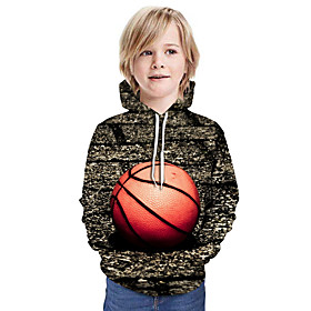 Kids Boys' Active Basic 3D Graphic Print Long Sleeve Hoodie  Sweatshirt Dark Gray