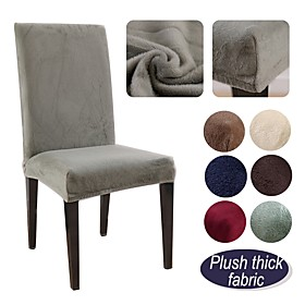 1 Pc Plush Chair Cover High Strech Dining Chair Slipcover High Stretch Solid Color Furniture Protector Removable Washable Chair Seat Protector Cover for Home P