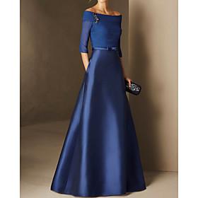 A-Line Elegant Minimalist Engagement Formal Evening Dress Off Shoulder Half Sleeve Floor Length Chiffon Satin with Ruched 2020