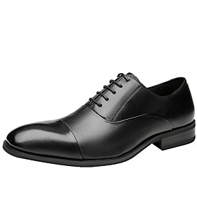 Men's Oxfords Business Daily Walking Shoes Leather Shock Absorbing Wear Proof Black Spring / Fall / Square Toe