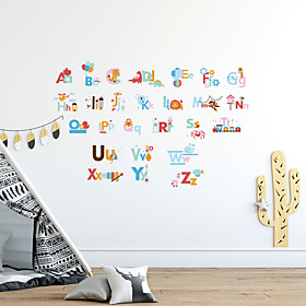 26 English Letters Animal Print DIY Wall Stickers Decorative Wall Stickers, PVC Home Decoration Wall Decal Wall Decoration / Removable For Early Childhood Educ