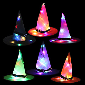 1pc Halloween Decorations Halloween Entertaining / Decorative Objects Holiday Decorations Party Garden Wedding Decoration 3734 cm Led Glowing Witch Wizard Hat