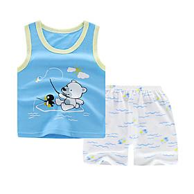 Kids Boys' Basic Daily Cartoon Print Sleeveless Regular Regular Clothing Set Blue